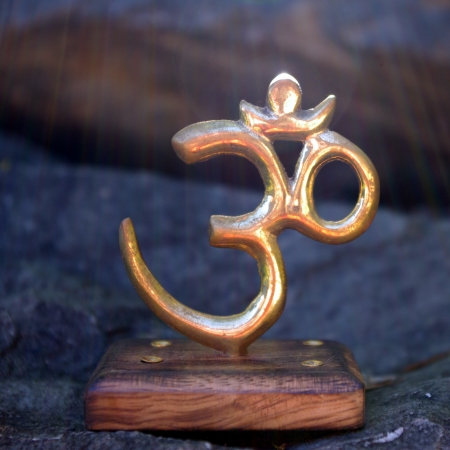 Brass Incense Holder with Om Symbol and Wooden Base