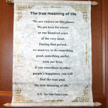 Dalai Lama Inspirational Quotation Wall Hanging - The True Meaning Of Life