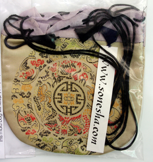 Tan Silk Prayer Beads Mala Bag