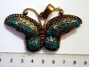 Butterfly Pendant Nepali Inlay Turquoise