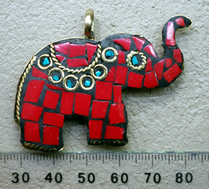 Brass Elephant Pendant Nepali Inlay Work Red