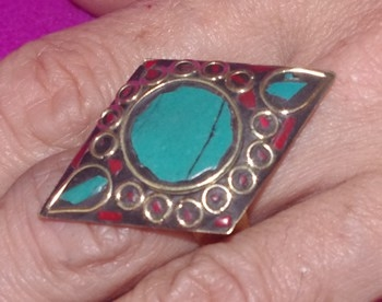 Diamond-Shaped Ring with Nepali Inlay Work on Brass Turquoise
