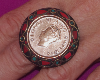 Antique Indian Coin Ring with Brass and Nepali Inlay Work King's Head