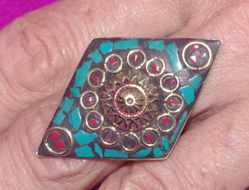 Diamond-Shaped Brass Ring Nepali Filigree and Inlay Work Turquoise