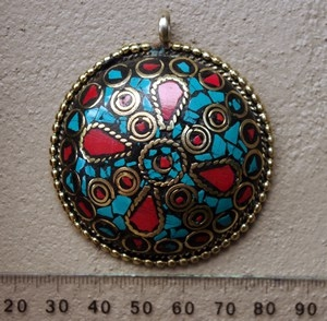 Dome Brass Pendant - Nepali Inlay Work